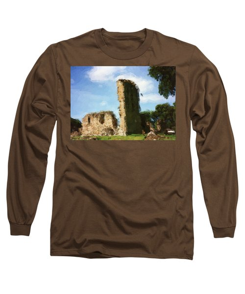 Elgin Cathedral Ruins Painting Long Sleeve T-Shirt