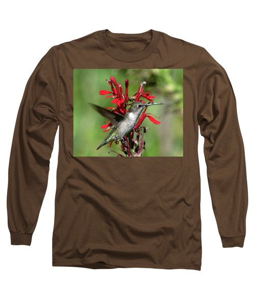 Female Ruby-throated Hummingbird Dsb0325 Long Sleeve T-Shirt