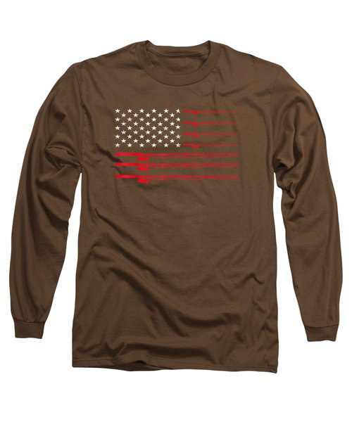 Fishing Rod T Shirt American Usa Flag - Fisherman Gift Idea Long Sleeve T-Shirt