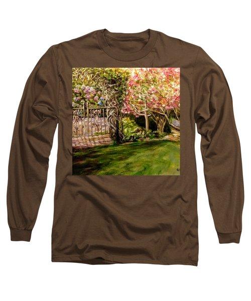 Garden Gate At Evergreen Arboretum Long Sleeve T-Shirt