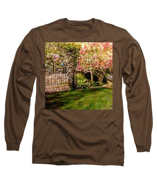 Garden Gate At Evergreen Arboretum Long Sleeve T-Shirt