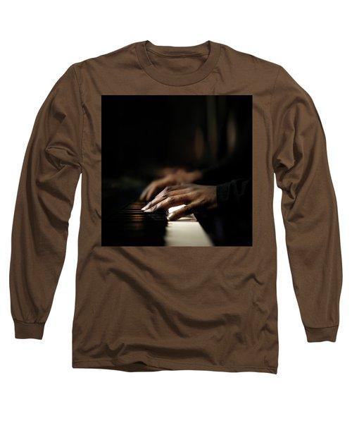 Hands Playing Piano Close-up Long Sleeve T-Shirt