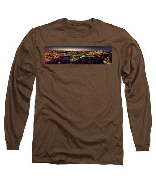 Long Sleeve T-Shirt featuring the photograph Hoan Bridge At Dusk Panorama by Randy Scherkenbach