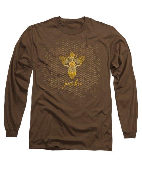 Just Bee - Geometric Zen Bee Meditating Over Honeycomb Hive  Long Sleeve T-Shirt