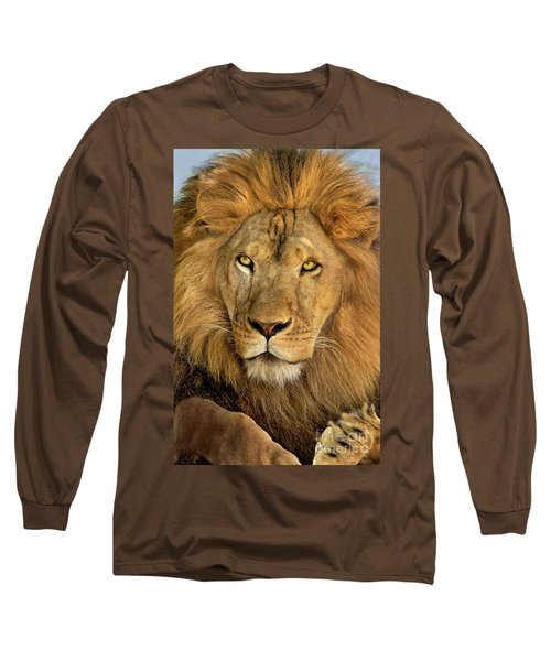 Male African Lion Portrait Wildlife Rescue Long Sleeve T-Shirt