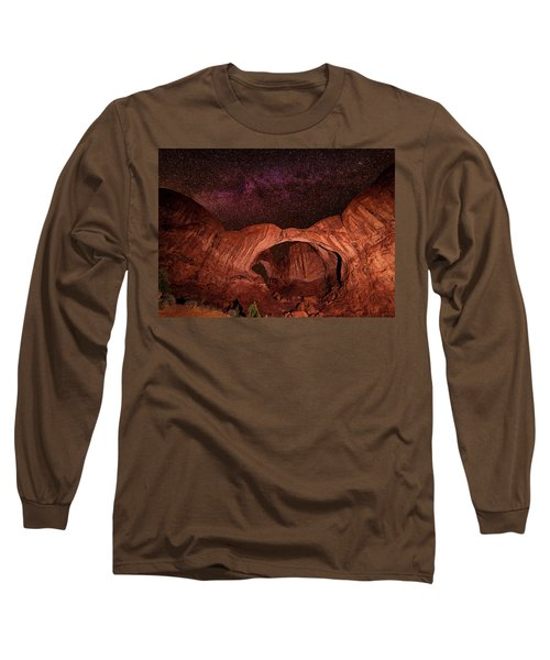 Long Sleeve T-Shirt featuring the photograph Milky Way Over Double Arch by Andy Crawford