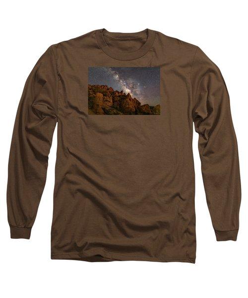 Milky Way Over Rocky Terrain Long Sleeve T-Shirt