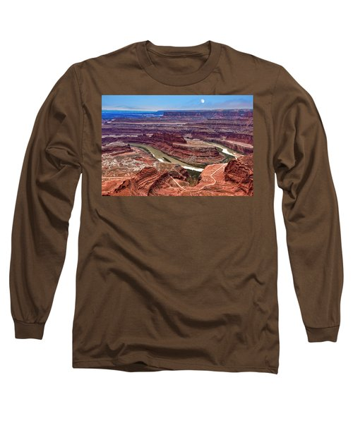 Long Sleeve T-Shirt featuring the photograph Moon Over Deadhorse Point by Andy Crawford