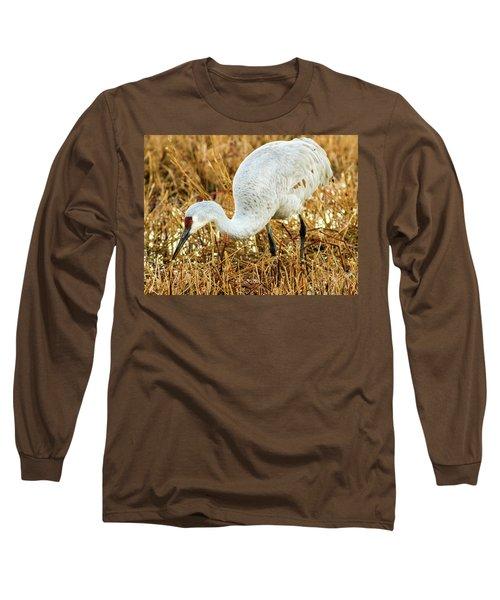 Munching Sandhill Crane Long Sleeve T-Shirt