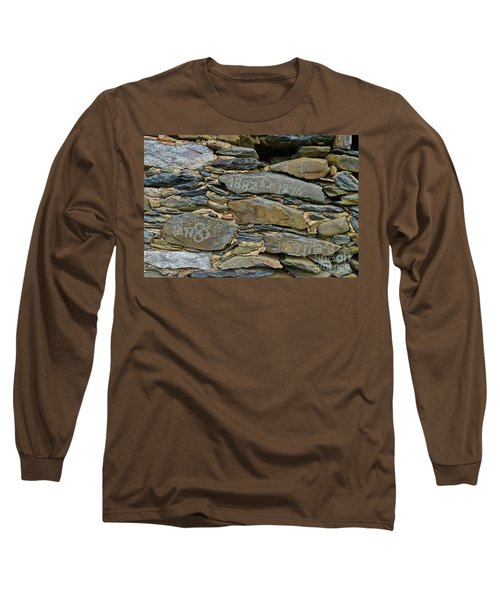 Old Schist Wall With Several Dates From 19th Century. Portugal Long Sleeve T-Shirt