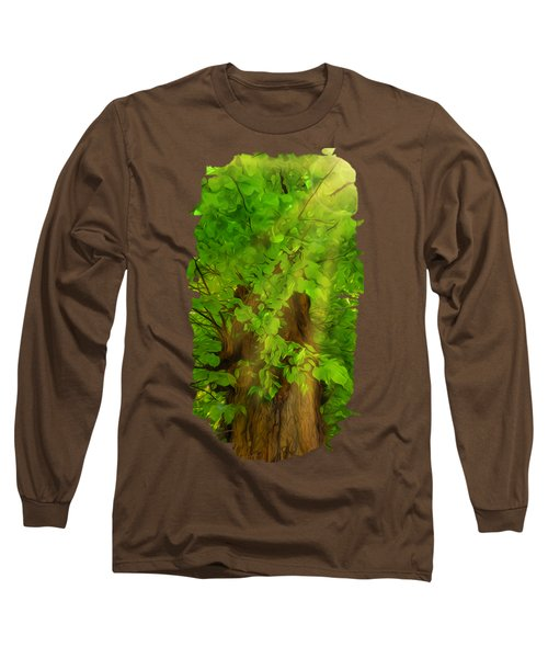 Old Tree Thick Branches Green And Sun Long Sleeve T-Shirt