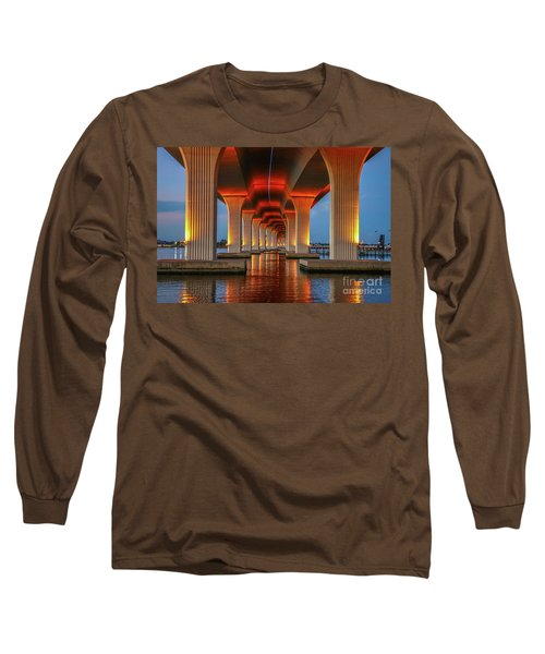 Orange Light Bridge Reflection Long Sleeve T-Shirt