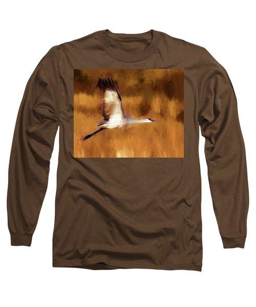 Painterly Crane Long Sleeve T-Shirt