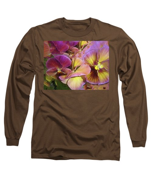 Long Sleeve T-Shirt featuring the mixed media Pansy Field In Violet And Yellow 12 by Lynda Lehmann