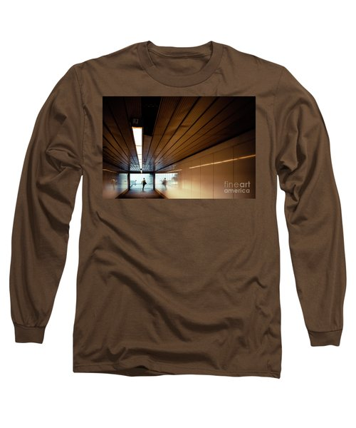 Passengers In A Hurry At The End Of A Tunnel At The Entrance To The Metro Station. Long Sleeve T-Shirt