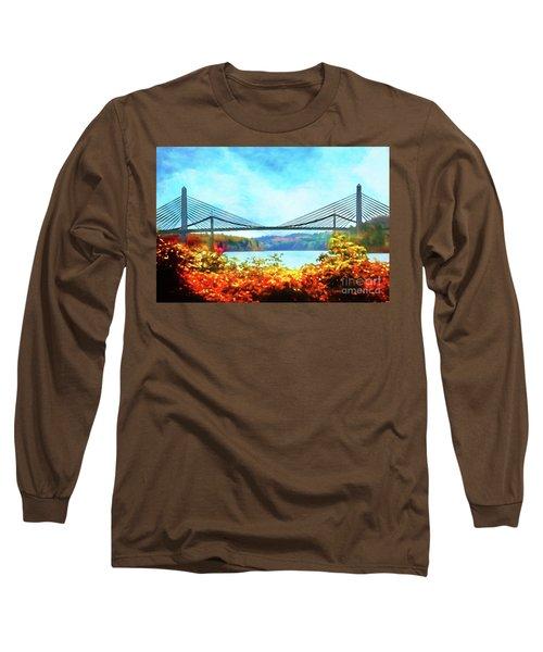 Penobscot Narrows Bridge In Autumn Long Sleeve T-Shirt