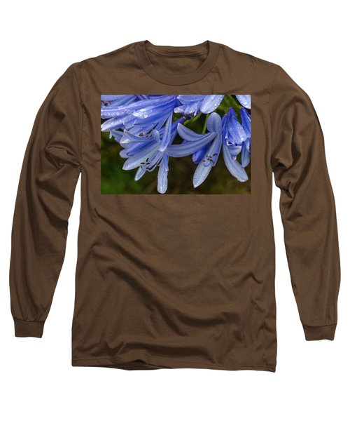 Rain Drops On Blue Flower Long Sleeve T-Shirt