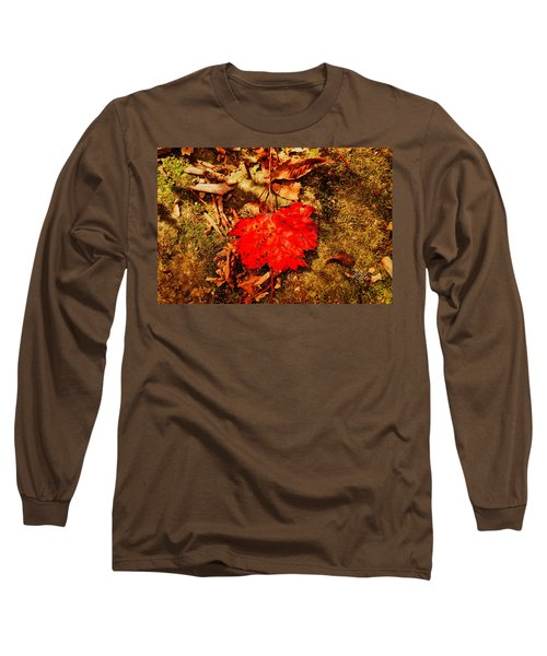 Red Leaf On Mossy Rock Long Sleeve T-Shirt