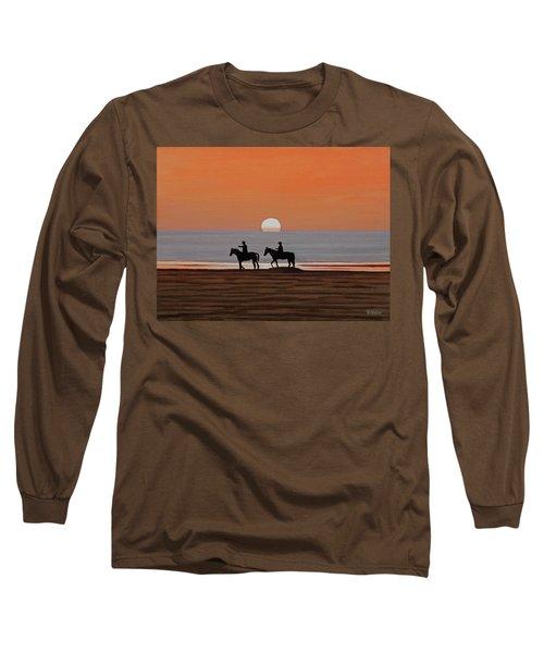 Riding Sunset Beach Long Sleeve T-Shirt