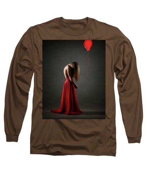 Sad Woman In Red Long Sleeve T-Shirt
