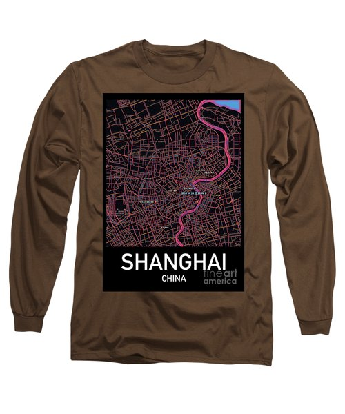 Shanghai City Map Long Sleeve T-Shirt
