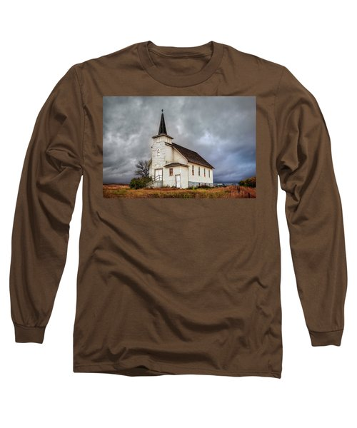 Shuttered Church In Cartwright North Dakota Long Sleeve T-Shirt