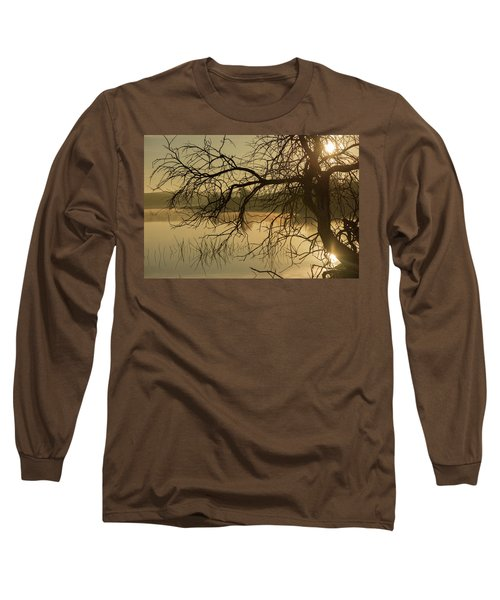 Silhouette Of A Tree By The River At Sunrise Long Sleeve T-Shirt