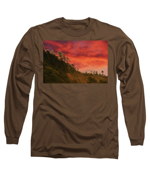 Silhouette Of Conifer Against  Seacoast  Long Sleeve T-Shirt
