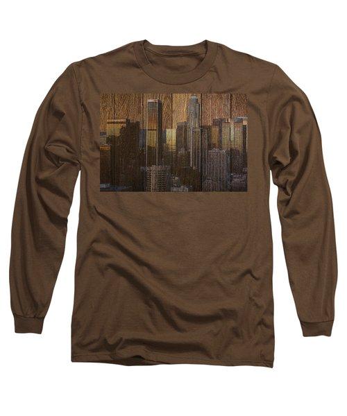 Skyline Of Los Angeles, Usa On Wood Long Sleeve T-Shirt