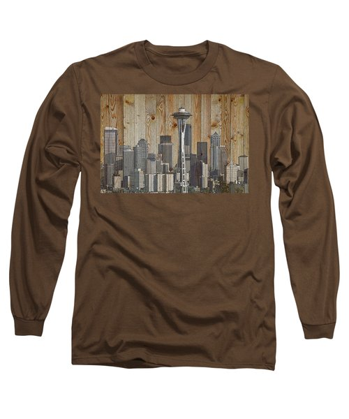 Skyline Of Seattle, Usa On Wood Long Sleeve T-Shirt