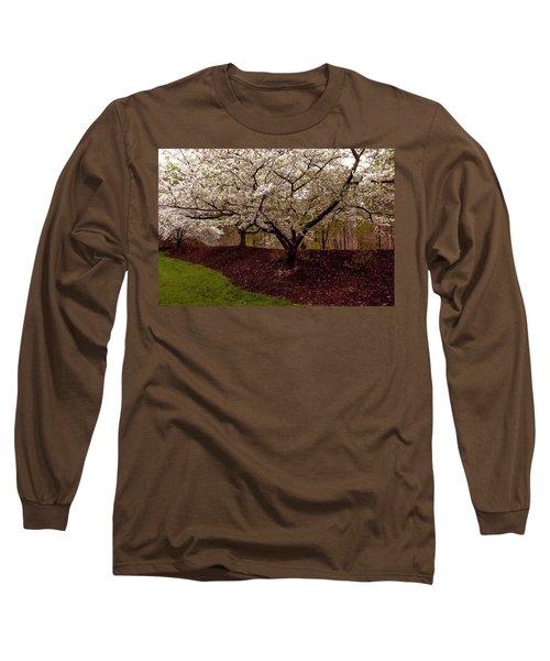Snowy Cherry Blossoms Long Sleeve T-Shirt