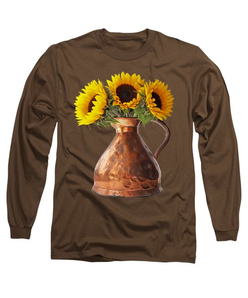Sunflowers In Copper Pitcher On Black Long Sleeve T-Shirt