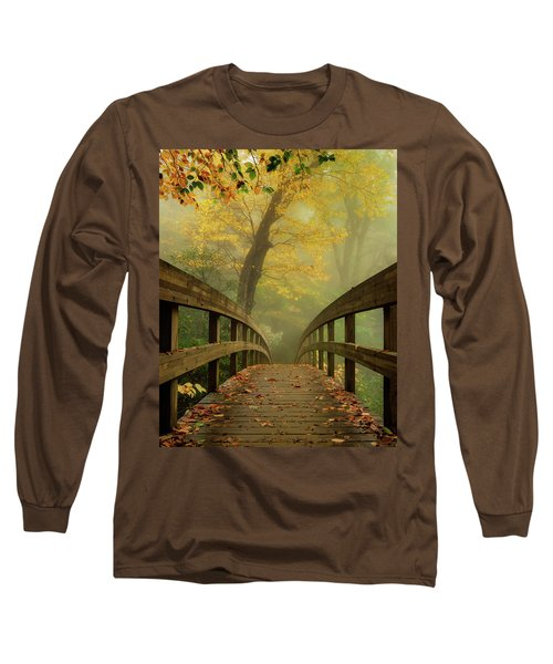 Tanawha Trail Blue Ridge Parkway - Foggy Autumn Long Sleeve T-Shirt