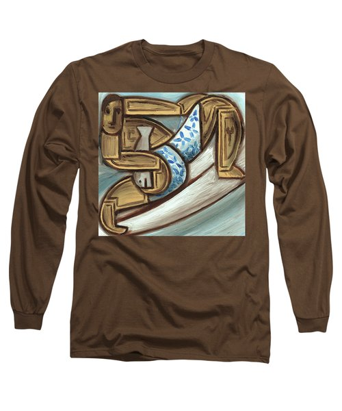 Tommervik Hawaiian Surfer Holding Fish Art Print Long Sleeve T-Shirt