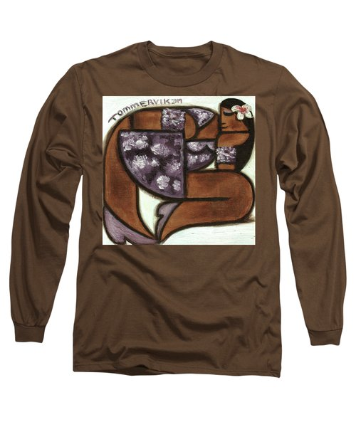 Tommervik Hawaiian Woman Wearing Purple Flower Dress Art Print Long Sleeve T-Shirt