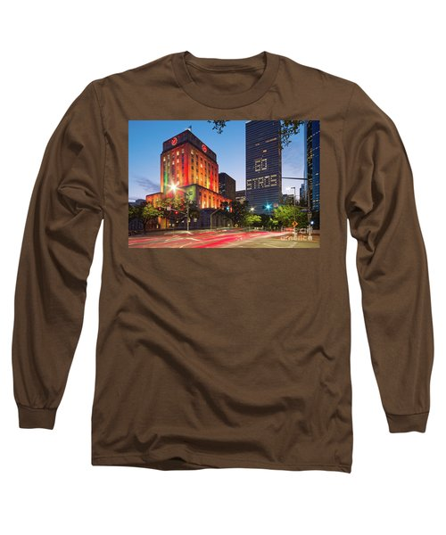 Twilight Photograph Of Houston City Hall Astros Baseball World Series 2017 - Downtown Houston Long Sleeve T-Shirt