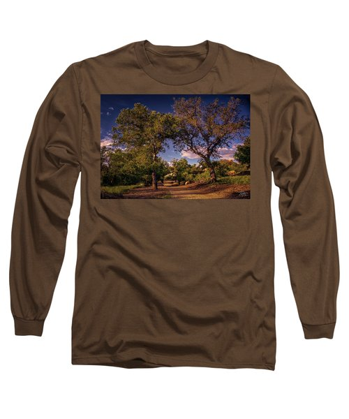 Two Old Oak Trees At Sunset Long Sleeve T-Shirt