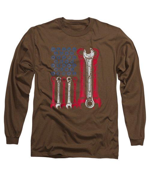 Usa Red White Blue American Flag Mechanic T-shirt Long Sleeve T-Shirt