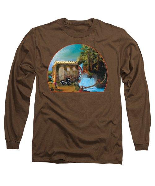 Water Wheel Overlay Long Sleeve T-Shirt
