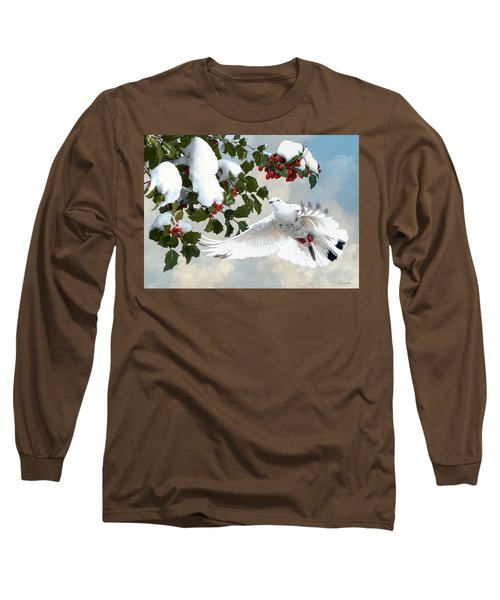 White Dove And Holly Long Sleeve T-Shirt