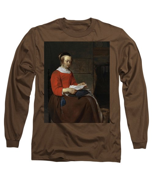 Young Woman Seated In An Interior, Reading A Letter Long Sleeve T-Shirt
