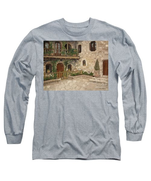 Long Sleeve T-Shirt featuring the painting Greek Courtyard - Agiou Stefanou Monastery -balcony by Jan Dappen