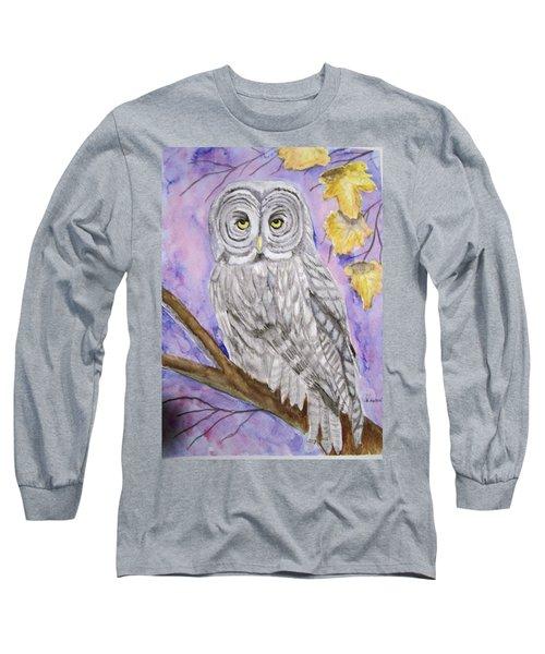 Grey Owl Long Sleeve T-Shirt by Belinda Lawson