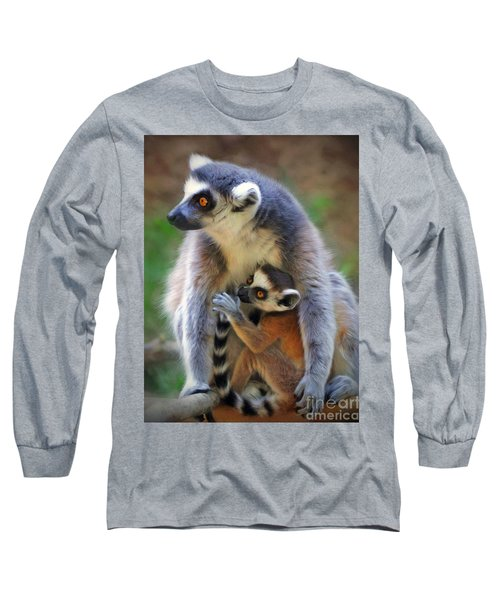 Long Sleeve T-Shirt featuring the photograph    Mother And Baby Monkey by Savannah Gibbs