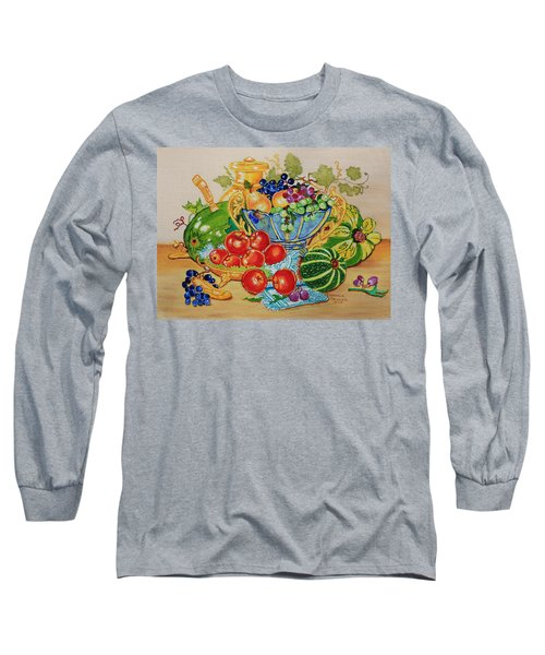 Red Apples And  Grapes Oil Painting Long Sleeve T-Shirt by Johanna Bruwer