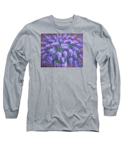 Long Sleeve T-Shirt featuring the painting  Scented Lilacs Bouquet by Natalie Holland