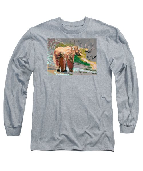 081914 Pastel Painting Grizzly Bear Long Sleeve T-Shirt by Garland Oldham