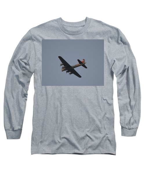 Long Sleeve T-Shirt featuring the photograph B-17 Flying Fortress Wwii Bomber Over Santa Rosa Sound At Twilight by Jeff at JSJ Photography