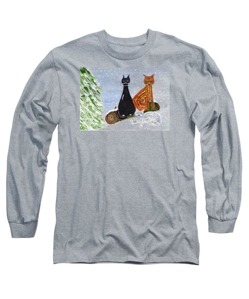 Ben's Cats In The Snow Long Sleeve T-Shirt by Veronica Rickard