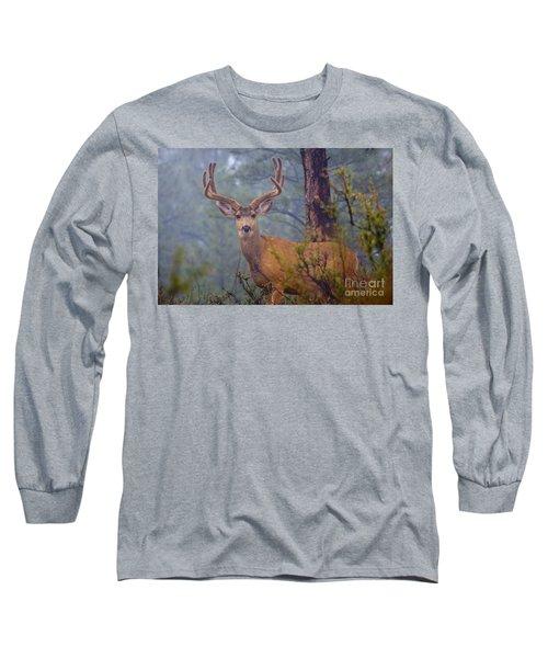 Buck Deer In A Mystical Foggy Forest Scene Long Sleeve T-Shirt